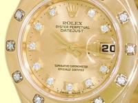 factory rolex champagne dial with diamond hour markers,