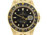 Mens Rolex GMT Master 16758 18k Yellow Gold Jubilee