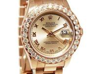 Rolex Ladies Datejust 18k Pink Rose Gold Diamond