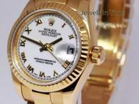 Rolex Ladies Datejust President 18k Gold White Roman