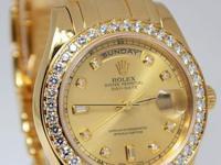 Rolex Masterpiece Day-Date 39mm 18k Gold Diamond Mens