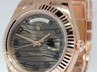 Rolex Mens Day-Date II 18k Pink Gold President Bronze