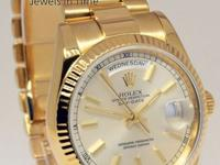 Rolex Mens Day-Date President 18k Gold Watch Box/Tags F