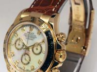 Rolex Mens Daytona 18k Gold MOP Diamond Dial