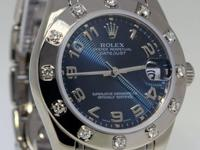 Rolex Midsize Pearlmaster 18k White Gold & Diamonds