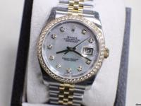 Dial: Factory Mother of Pearl Diamond Dial Features: