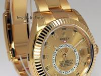 NEW Rolex Sky-Dweller 18k Yellow Gold Mens GMT Watch