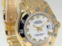 Rolex Pearlmaster 12 Diamond Bezel 18k Yellow Gold