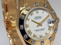 Rolex Pearlmaster 18k Yellow Gold & 12 Diamond Bezel