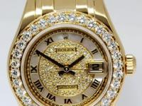 Rolex Pearlmaster Ladies 18k Yellow Gold & Diamond MOP