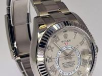 Rolex Sky-Dweller 18k White Gold Mens GMT Watch On