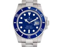 Gents Rolex Submariner in 18k white gold with blue
