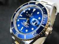 Rolex Submariner 16613 Blue Automatic Date 18k Gold /
