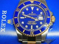 Rolex Submariner 18k Gold/Steel Blue Ceramic Diamond