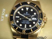 Rolex Submariner 18k Yellow Gold Black Ceramic Mens