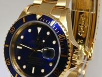 Rolex Submariner 18k Yellow Gold Blue Dial/Bezel Mens