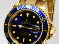 Rolex Submariner 18k Yellow Gold Blue Mens Dive Watch
