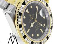 Rolex Submariner Watch With Diamond Custom Bezel This