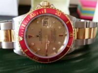 Rolex twotone submariner factory serti ruby and diamond