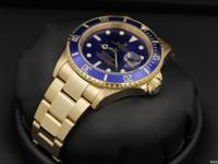 Rolex, Submariner, Yellow Gold, Sunburst Blue Dial,
