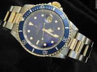 Detailed Description Genuine Rolex w/blue dial &