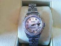 Ladies stainless steel Rolex watch with diamond and