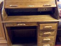 "Strong wood roll top desk. Only $175!  41"" x 24"" x 30"""