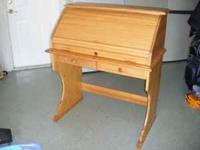 Roll top desk, purchased in Germany in 1985, oak wood
