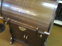 Roll Top Desk Wood w/ dark stain in fair condition