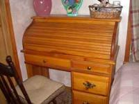 solid wood roll top desk, with hanging file folders $85