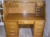 "Full size roll-top desk (54""W x 29"" D X 52""H). Multiple"
