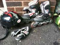 One set of each one boy and girl roller blades, gloves,