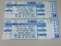 2 Rolling Stones Concert Tickets for the Stones'