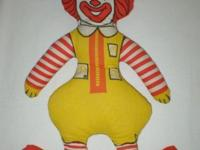"This vintage 17"" Ronald McDonald packed cloth doll is"