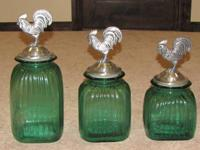 A very nice set of rooster kitchen canisters. Canisters