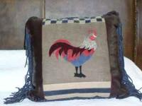 ROOSTER LEATHER PILLOW. HANDMADE HIGH-GRADE LEATHER