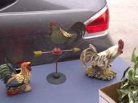 Rooster tins $10 Rooster weather vane $5 White rooster