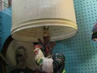 "Rooster Lamp. Excellent condition. Measures 34.5"" tall."
