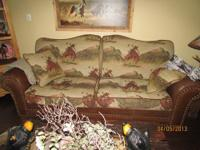 Matching Roping Horse Western themed sofa with two