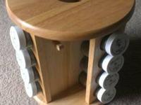 Rotating Wooden Spice Rack with 16 Full Bottles of