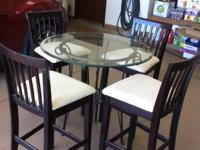 ROUND 36? BLACK WROUGHT IRON PUB TABLE WITH 4