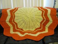 "Round Afghan (Crochet) Orange & Cream 66"" Please reply"