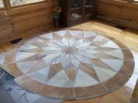 "95 "" Round Cowhide Rug-- ideal for living room in a"
