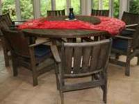 Round garden table 82 inchs diameter with lazy susan -