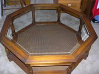 this is about 35 inch round glass top table , in mint