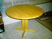 Blonde finish round kitchen / dinner table. 38""