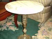Round Marble Top Side Table with brass base, nice