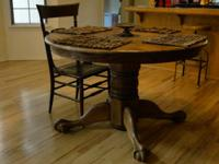 Antique oak claw-foot table, 4' diameter, leaf adds 2'