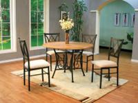 Wood veneer table top with a metal baseMetal chair with