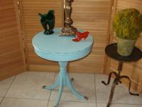 Round Pedestal Occasional Table - Brass Feet - Painted